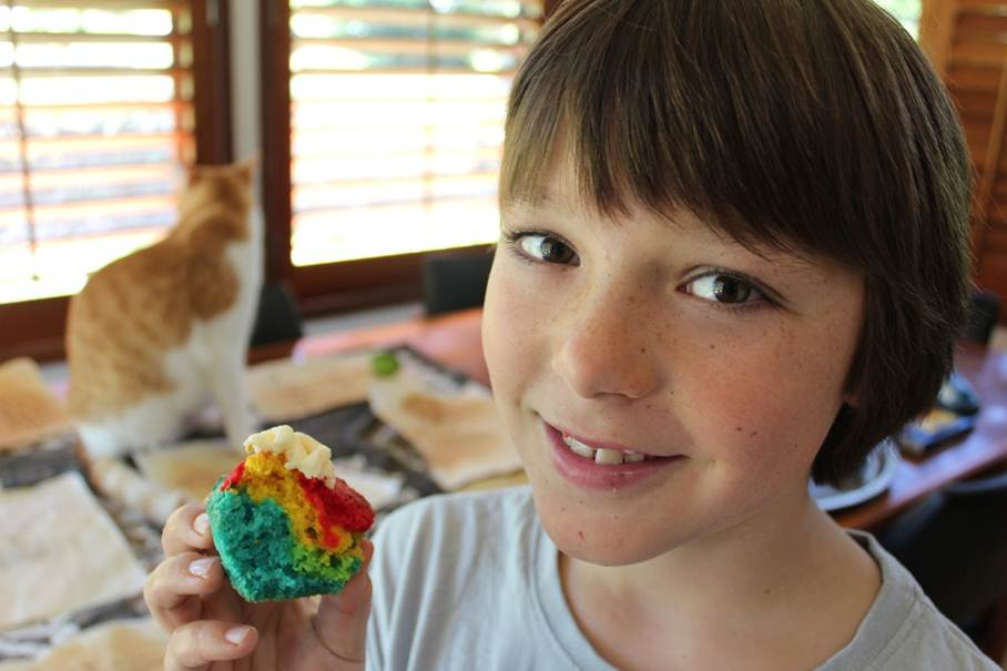Asher with one of his rainbow cakes, & a guardcat