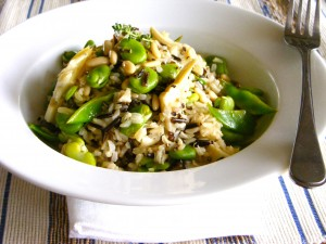 Wild Rice, Broad Bean and Artichoke salad